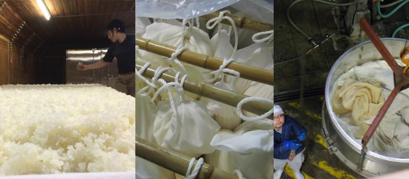 川鶴の酒造り、藤岡の作業、袋で搾っている